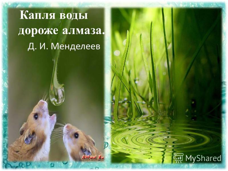 Капля воды дороже алмаза. Д. И. Менделеев