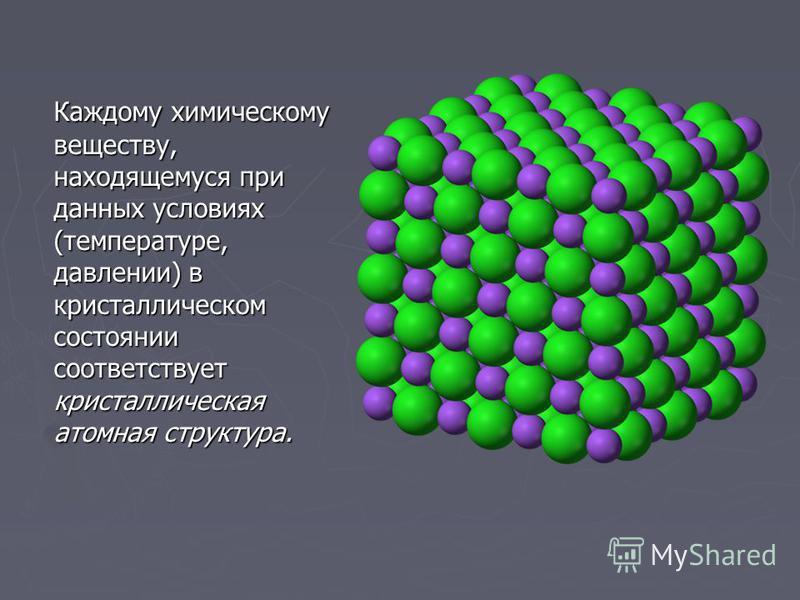 Каждому химическому веществу, находящемуся при данных условиях (температуре, давлении) в кристаллическом состоянии соответствует кристаллическая атомная структура.