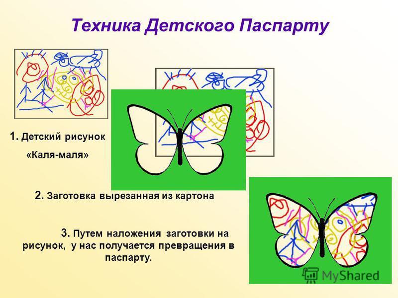 Техника Детского Паспарту 1. Детский рисунок «Каля-маля» 2. Заготовка вырезанная из картона 3. Путем наложения заготовки на рисунок, у нас получается превращения в паспарту.