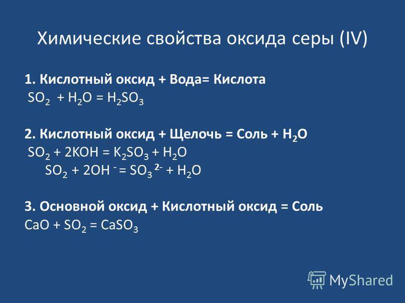 Химические свойства оксида серы (IV) 1. Кислотный оксид + Вода= Кислота SO 2 + H 2 O = H 2 SO 3 2. Кислотный оксид + Щелочь = Соль + Н 2 О SO 2 + 2KOH = K 2 SO 3 + H 2 O SO 2 + 2OH - = SO 3 2- + H 2 O 3. Основной оксид + Кислотный оксид = Соль CaO +