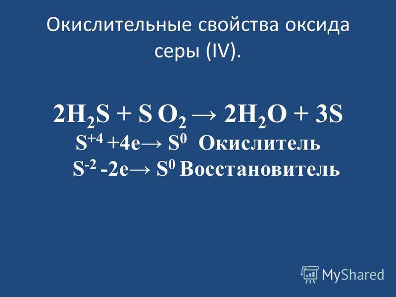 Окислительные свойства оксида серы (IV). 2H 2 S + S O 2 2H 2 O + 3S S +4 +4 е S 0 Окислитель S -2 -2 е S 0 Восстановитель