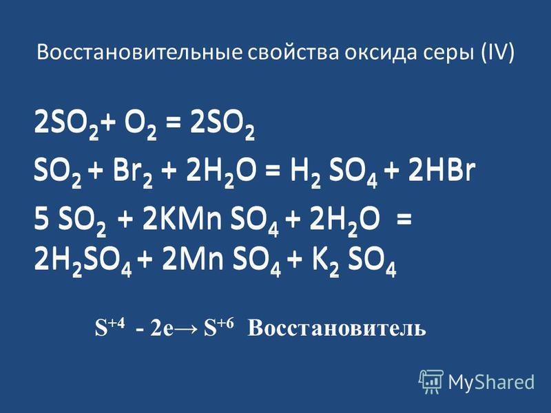 Восстановительные свойства оксида серы (IV) 2SO 2 + O 2 = 2SO 2 SO 2 + Br 2 + 2H 2 O = H 2 SO 4 + 2HBr 5 SO 2 + 2KMn SO 4 + 2H 2 O = 2H 2 SO 4 + 2Mn SO 4 + K 2 SO 4 S +4 - 2 е S +6 Восстановитель 2SO 2 + O 2 = 2SO 2 SO 2 + Br 2 + 2H 2 O = H 2 SO 4 +