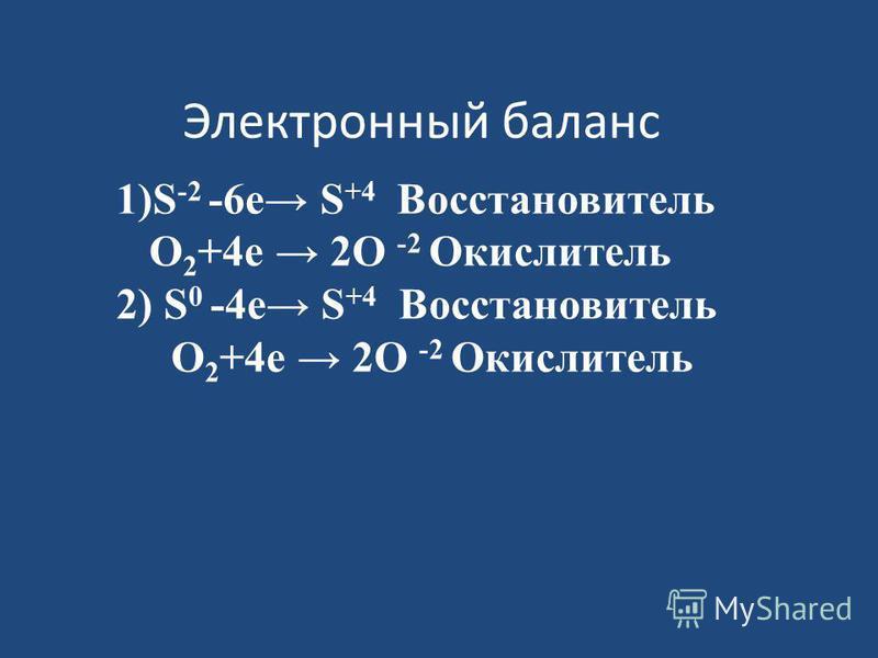 Электронный баланс 1)S -2 -6 е S +4 Восстановитель O 2 +4 е 2O -2 Окислитель 2) S 0 -4 е S +4 Восстановитель O 2 +4 е 2O -2 Окислитель