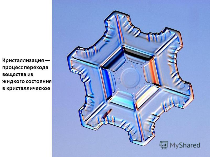 Кристаллизация процесс перехода вещества из жидкого состояния в кристаллическое