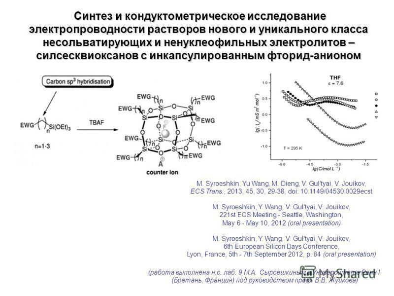 Синтез и кондуктометрическое исследование электропроводности растворов нового и уникального класса несольватирующих и ненуклеофильных электролитов – силсесквиоксанов с инкапсулированным фторид-анионом Синтез и кондуктометрическое исследование электро