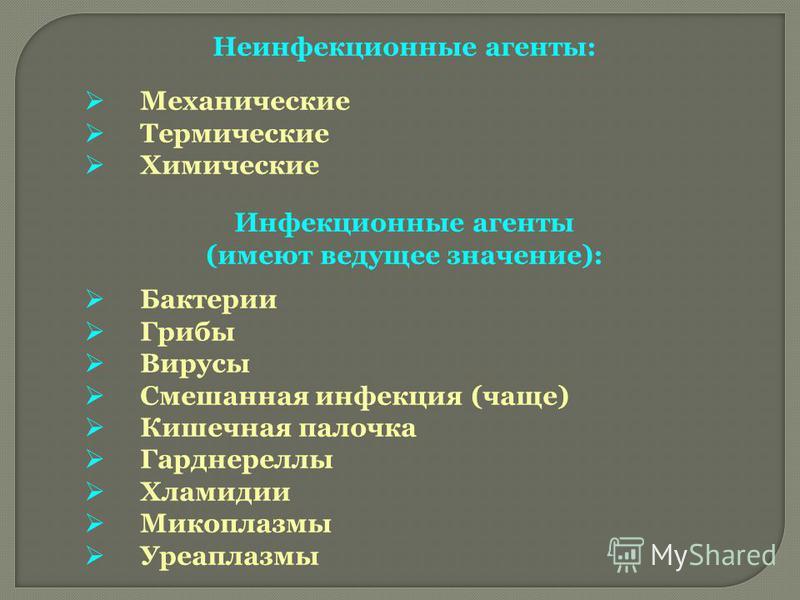 Неинфекционные агенты: Механические Термические Химические Инфекционные агенты (имеют ведущее значение): Бактерии Грибы Вирусы Смешанная инфекция (чаще) Кишечная палочка Гарднереллы Хламидии Микоплазмы Уреаплазмы