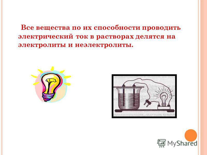 Все вещества по их способности проводить электрический ток в растворах делятся на электролиты и неэлектролиты.