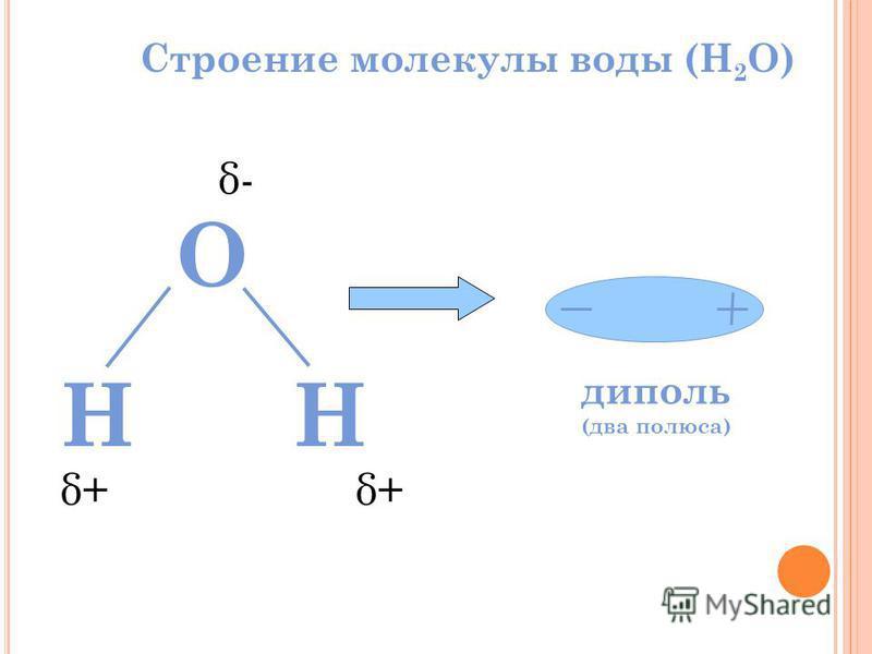 Строение молекулы воды (H 2 O) HH O диполь (два полюса) δ- δ+δ+δ+δ+