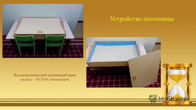 Водонепроницаемый деревянный ящик, размер – 50x70x8 сантиметров. Устройство песочницы