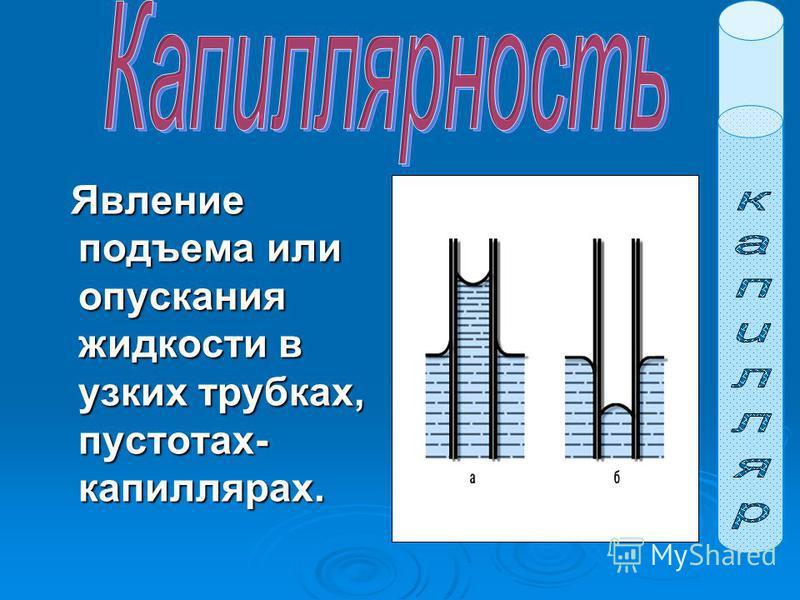 Явление подъема или опускания жидкости в узких трубках, пустотах- капиллярах. Явление подъема или опускания жидкости в узких трубках, пустотах- капиллярах.
