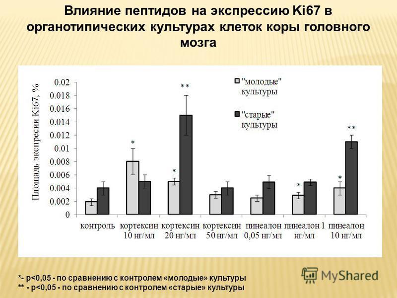 Влияние пептидов на экспрессию Ki67 в органотипических культурах клеток коры головного мозга *- p