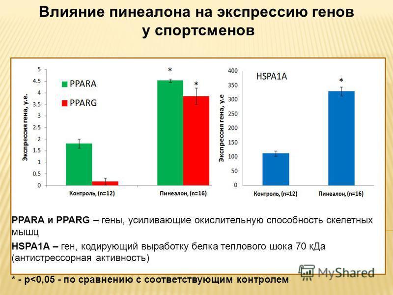 PPARA и PPARG – гены, усиливающие окислительную способность скелетных мышц HSPA1A – ген, кодирующий выработку белка теплового шока 70 к Да (антистрессорная активность) * - p
