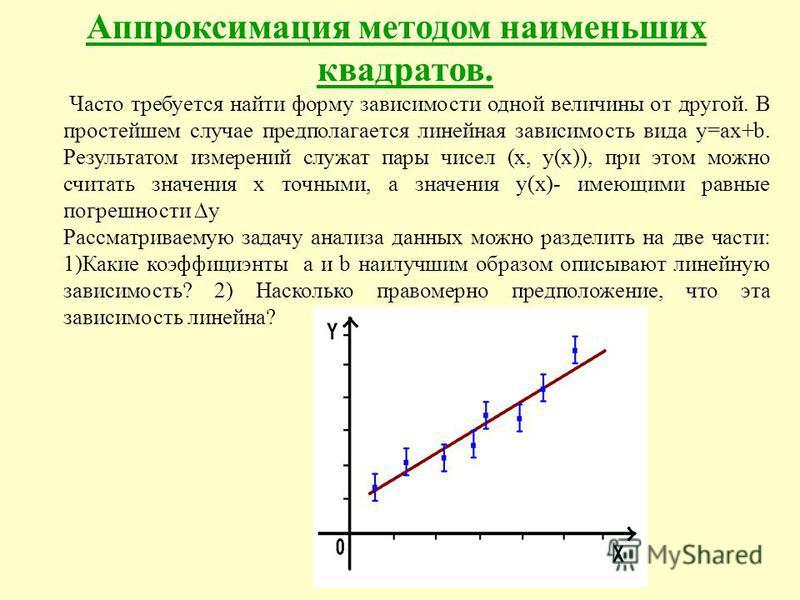 Аппроксимация методом наименьших квадратов. Часто требуется найти форму зависимости одной величины от другой. В простейшем случае предполагается линейная зависимость вида y=ax+b. Результатом измерений служат пары чисел (х, y(х)), при этом можно счита