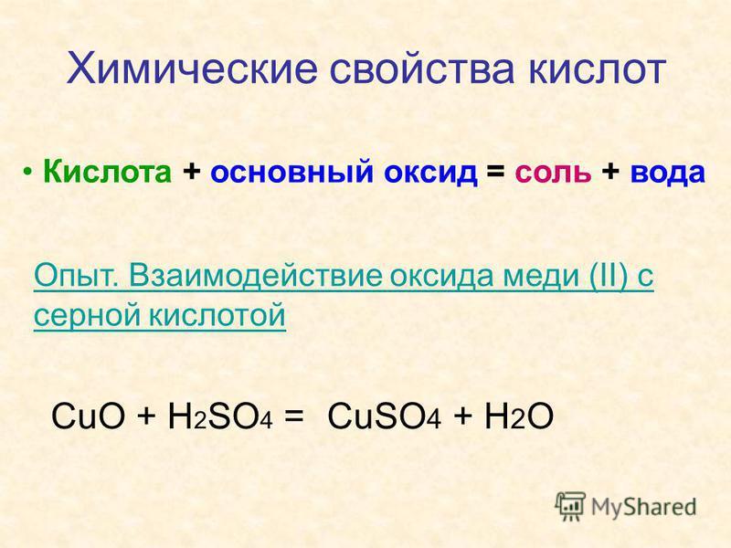 Химические свойства кислот Кислота + основный оксид = соль + вода Опыт. Взаимодействие оксида меди (II) с серной кислотой СuO + H 2 SO 4 =CuSO 4 + H 2 O