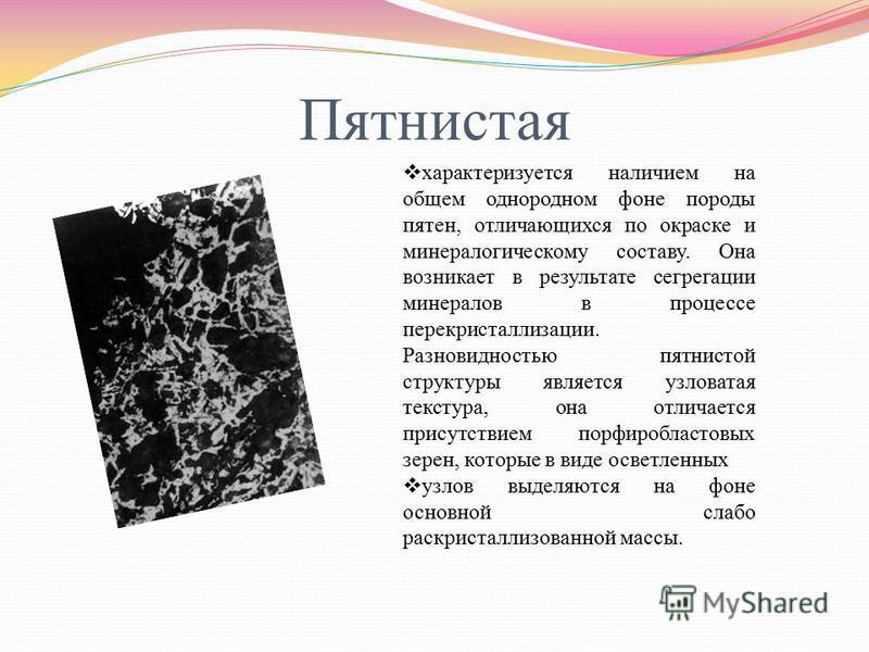 Пятнистая характеризуется наличием на общем однородном фоне породы пятен, отличающихся по окраске и минералогическому составу. Она возникает в результате сегрегации минералов в процессе перекристаллизации. Разновидностью пятнистой структуры является