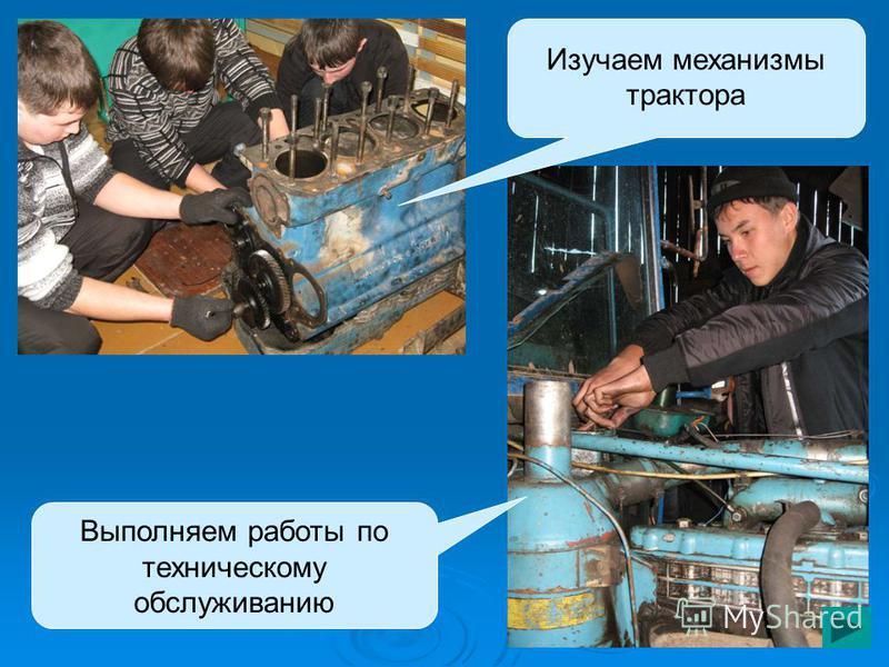 Выполняем работы по техническому обслуживанию Изучаем механизмы трактора
