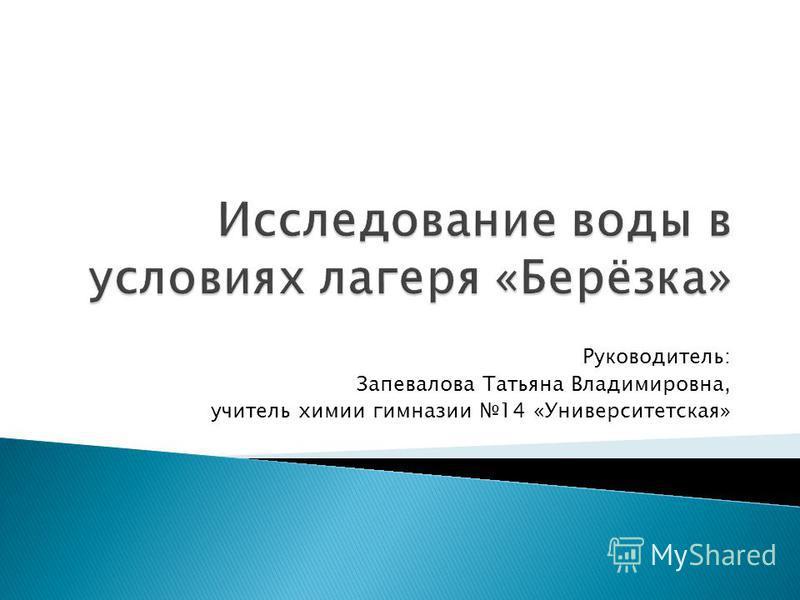 Руководитель: Запевалова Татьяна Владимировна, учитель химии гимназии 14 «Университетская»