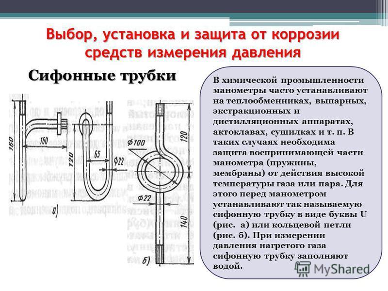 Выбор, установка и защита от коррозии средств измерения давления Сифонные трубки В химической промышленности манометры часто устанавливают на теплообменниках, выпарных, экстракционных и дистилляционных аппаратах, автоклавах, сушилках и т. п. В таких