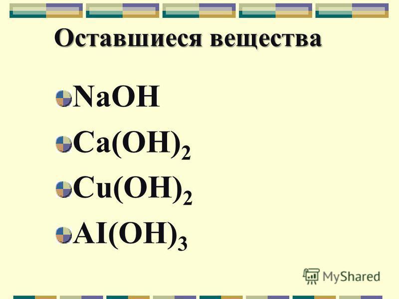 Оставшиеся вещества NaOH Ca(OH) 2 Cu(OH) 2 AI(OH) 3