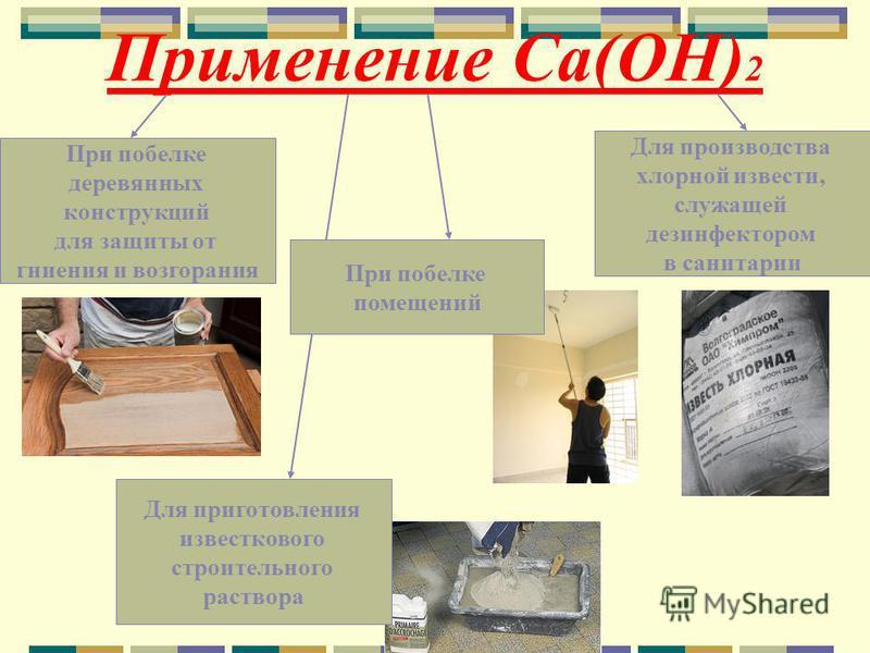 Применение Ca(OH) 2 При побелке помещений При побелке деревянных конструкций для защиты от гниения и возгорания Для приготовления известкового строительного раствора Для производства хлорной извести, служащей дезинфектором в санитарии