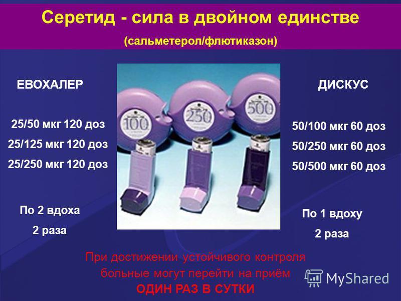 Серетид - сила в двойном единстве (сальметерол/флютиказон) ЕВОХАЛЕРДИСКУС 25/50 мкг 120 доз 25/125 мкг 120 доз 25/250 мкг 120 доз 50/100 мкг 60 доз 50/250 мкг 60 доз 50/500 мкг 60 доз По 2 вдоха 2 раза По 1 вдоху 2 раза При достижении устойчивого кон
