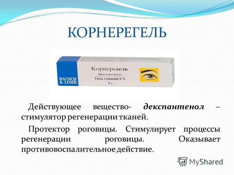 КОРНЕРЕГЕЛЬ Действующее вещество- декспантенол – стимулятор регенерации тканей. Протектор роговицы. Стимулирует процессы регенерации роговицы. Оказывает противовоспалительное действие.