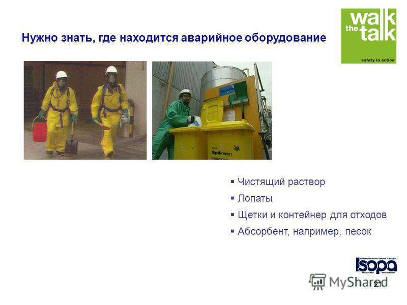 21 Чистящий раствор Лопаты Щетки и контейнер для отходов Абсорбент, например, песок Нужно знать, где находится аварийное оборудование