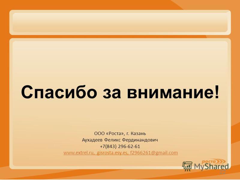 КОРМОВАЯ ДОБАВКА 37 т/сут × 3,6 тыс. руб. = = 133,2 тыс. руб. 22 Спасибо за внимание! ООО «Роста», г. Казань Аухадеев Феликс Фердинандович +7(843) 296-62-61 www.extrel.ru, gisrosta.esy.es, f2966261@gmail.comwww.extrel.ruf2966261@gmail.com