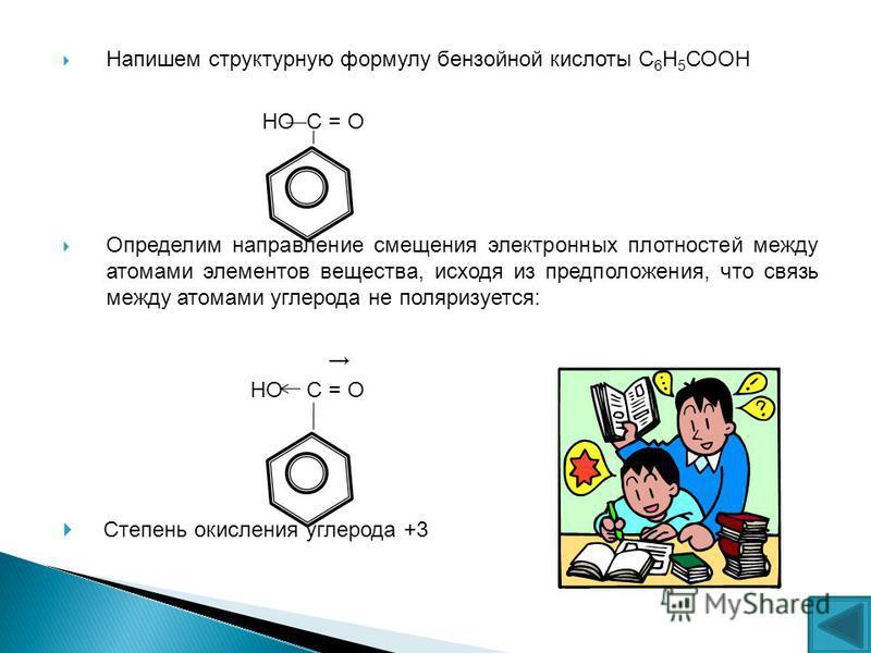 Напишем структурную формулу бензойной кислоты С 6 Н 5 СООН НО С = О Определим направление смещения электронных плотностей между атомами элементов вещества, исходя из предположения, что связь между атомами углерода не поляризуется: НО С = О Степень ок