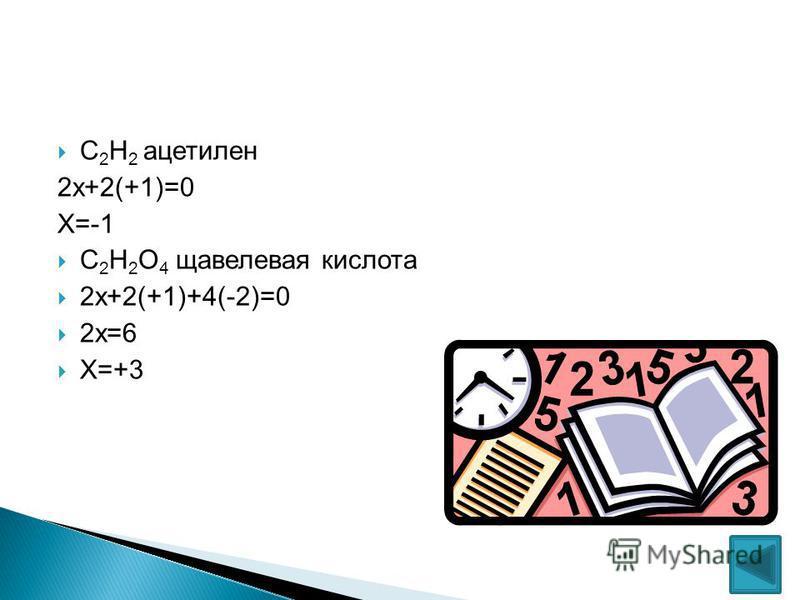 С 2 Н 2 ацетилен 2 х+2(+1)=0 Х=-1 С 2 Н 2 О 4 щавелевая кислота 2 х+2(+1)+4(-2)=0 2 х=6 Х=+3