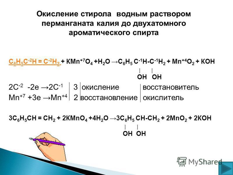 С 6 Н 5 С -2 Н = С -2 Н 2 С 6 Н 5 С -2 Н = С -2 Н 2 + КMn +7 O 4 +Н 2 О С 6 Н 5 С -1 Н-С -1 Н 2 + Mn +4 O 2 + КОН ОН ОН 2С -2 -2 е 2С -1 3 окисление восстановитель Mn +7 +3 е Мn +4 2 восстановление окислитель 3С 6 Н 5 СН = СН 2 + 2КMnO 4 +4Н 2 О 3С 6