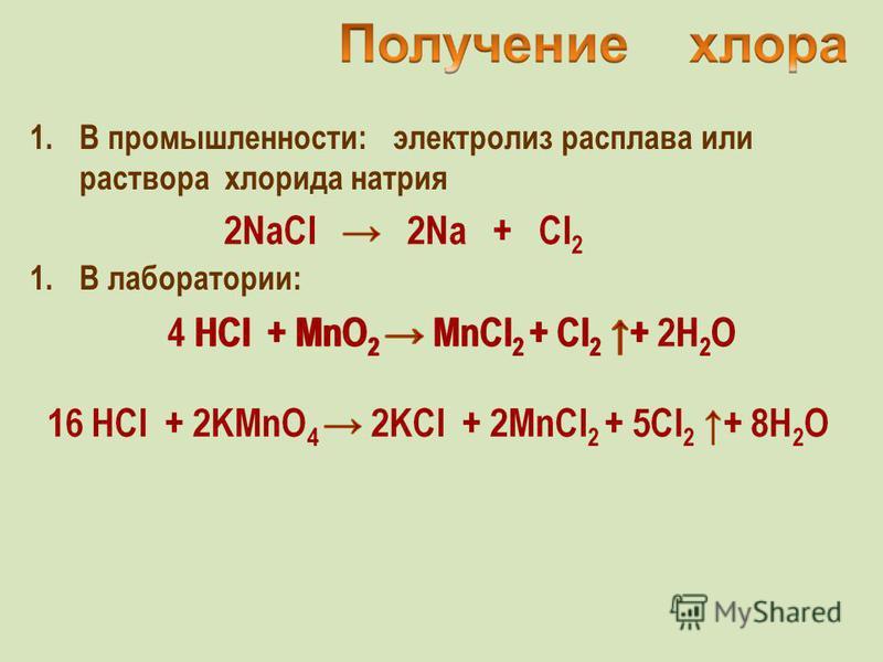 1. В промышленности: электролиз расплава или раствора хлорида натрия 1. В лаборатории: