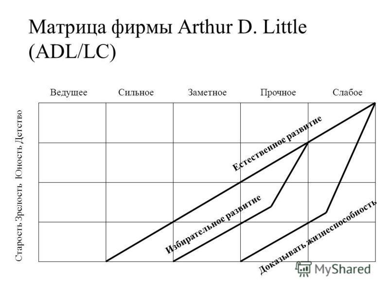 Матрица фирмы Arthur D. Little (ADL/LC) Естественное развитие Избирательное развитие Доказывать жизнеспособность Ведущее Сильное Заметное Прочное Слабое Старость Зрелость Юность Детство