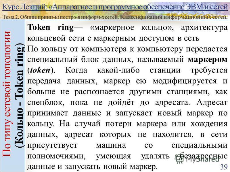 Курс Лекций: «Аппаратное и программное обеспечение ЭВМ и сетей Тема 2. Общие принц-ы постро-я информ-х сетей. Классификация информационных сетей. 39 По типу сетевой топологии (Кольцо - Token ring) Token ring «маркерное кольцо», архитектура кольцевой