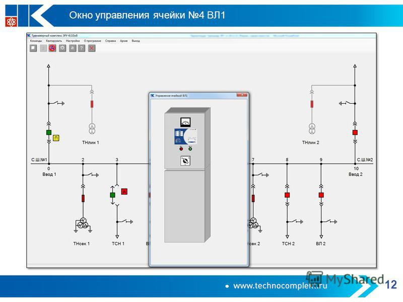 Окно управления ячейки 4 ВЛ1 12