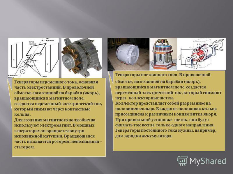 Генераторы переменного тока, основная часть электростанций. В проволочной обмотке, намотанной на барабан ( якорь ), вращающийся в магнитном поле, создается переменный электрический ток, который снимают через контактные кольца. Для создания магнитного