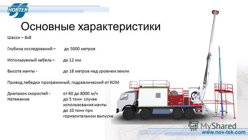 Основные характеристики Шасси – 8 х 8 Глубина исследований – до 5000 метров Используемый кабель – до 12 мм Высота мачты - до 18 метров над уровнем земли Привод лебедки программный, гидравлический от КОМ Диапазон скоростей - от 60 до 8000 м/ч Натяжени