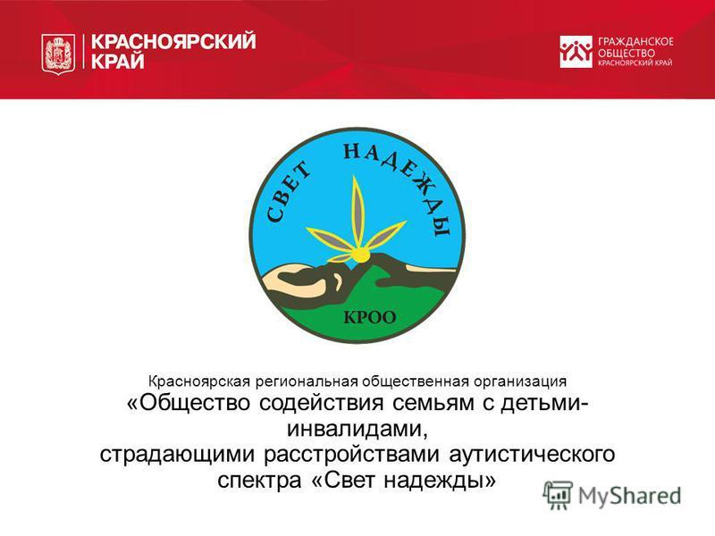 Красноярская региональная общественная организация «Общество содействия семьям с детьми- инвалидами, страдающими расстройствами аутистического спектра «Свет надежды»