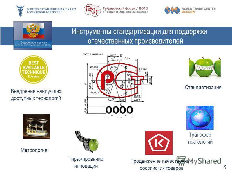 Инструменты стандартизации для поддержки отечественных производителей Стандартизация Метрология Тиражирование инноваций Продвижение качественных российских товаров Трансфер технологий Внедрение наилучших доступных технологий 9