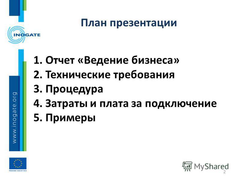 План презентации 1. Отчет «Ведение бизнеса» 2. Технические требования 3. Процедура 4. Затраты и плата за подключение 5. Примеры 2