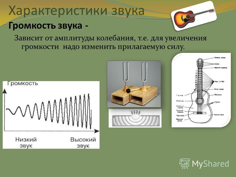 Характеристики звука Громкость звука - Зависит от амплитуды колебания, т.е. для увеличения громкости надо изменить прилагаемую силу.