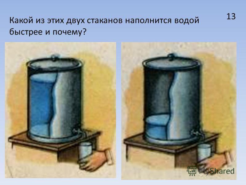 33 13 Какой из этих двух стаканов наполнится водой быстрее и почему?