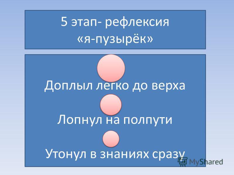 5 этап- рефлексия «я-пузырёк» Доплыл легко до верха Лопнул на полпути Утонул в знаниях сразу