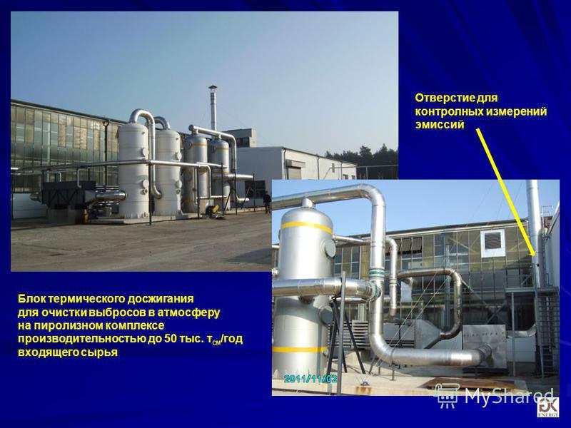 Блок термического до сжигания для очистки выбросов в атмосферу на пиролизном комплексе производительностью до 50 тыс. т см /год входящего сырья Отверстие для контролных измерений эмиссий