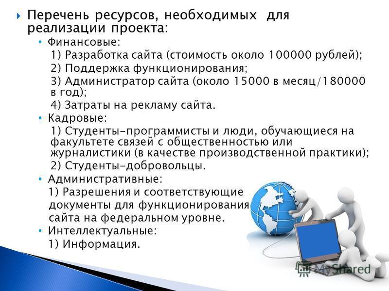 Перечень ресурсов, необходимых для реализации проекта: Финансовые: 1) Разработка сайта (стоимость около 100000 рублей); 2) Поддержка функционирования; 3) Администратор сайта (около 15000 в месяц/180000 в год); 4) Затраты на рекламу сайта. Кадровые: 1