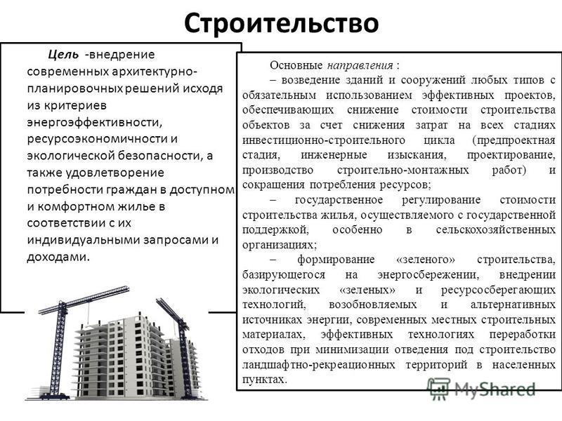 Строительство Цель -внедрение современных архитектурно- планировочных решений исходя из критериев энергоэффективности, ресурсоэкономичности и экологической безопасности, а также удовлетворение потребности граждан в доступном и комфортном жилье в соот