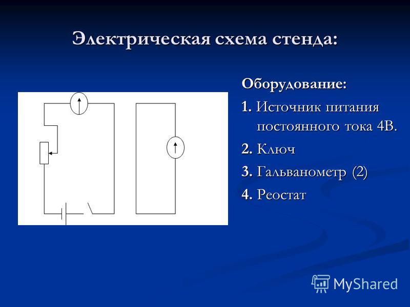 Электрическая схема стенда: Оборудование: 1. Источник питания постоянного тока 4В. 2. Ключ 3. Гальванометр (2) 4. Реостат