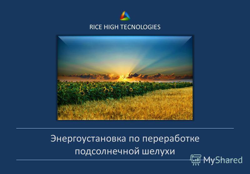 RICE HIGH TECNOLOGIES Энергоустановка по переработке подсолнечной шелухи