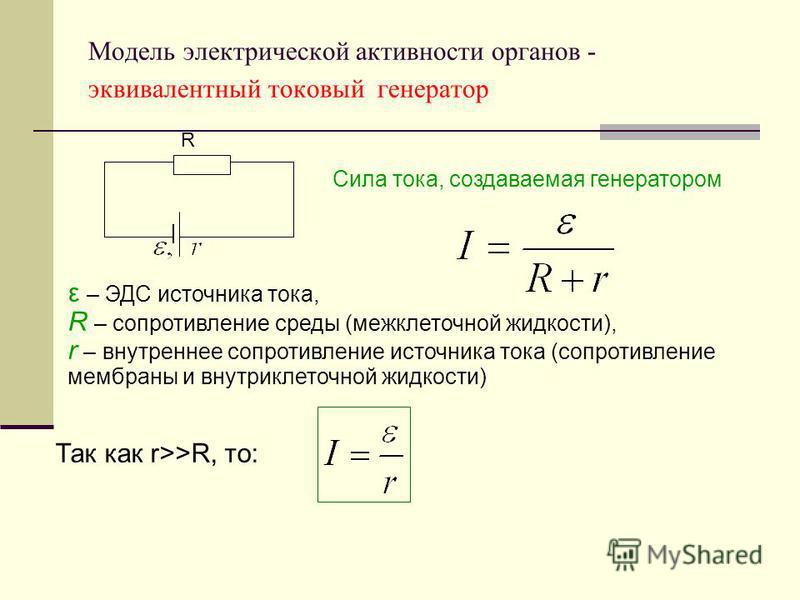 Модель электрической активности органов - эквивалентный токовый генератор Сила тока, создаваемая генератором ε – ЭДС источника тока, R – сопротивление среды (межклеточной жидкости), r – внутреннее сопротивление источника тока (сопротивление мембраны