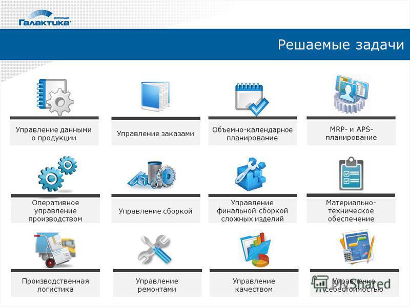 Управление сборкой Решаемые задачи Управление данными о продукции Управление заказами Объемно-календарное планирование MRP- и APS- планирование Оперативное управление производством Управление финальной сборкой сложных изделий Материально- техническое